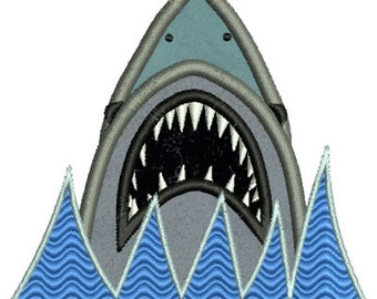 Jaws Shark Applique Machine Embroidery Designs 4x4 & 5x7 Instant Download Sale