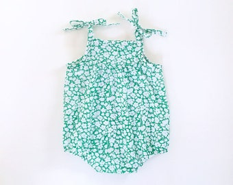 girls green floral romper