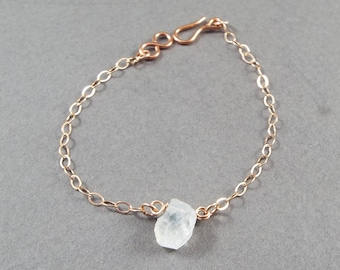 Raw Moonstone Simple Bracelet Rose Gold Filled