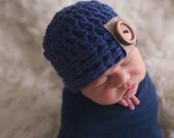 newborn boy hat, newborn hat,  baby boy hat,     boys hat, navy,   crochet boys hat, little boys hat, baby boy hat,baby boy hat,baby hat