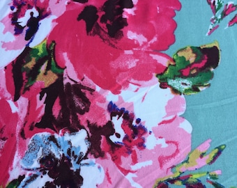 Eliza. Large Scale Watercolor Floral On Sage Green With Hints Of Blue, Pink And Green. Double Brushed Poly Knit Fabric