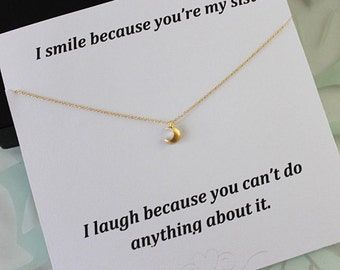 Little Dainty Moon Necklace, Crescent moon necklace, Dainty Jewelry, Gifts for her, Necklace for Sister
