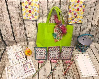 Easter Bunco Accessory Kit: To enhance your regular Bunco Kit. 3 Tables/12 people.  1 of kind Bunco Chick with adorable Chick Theme.