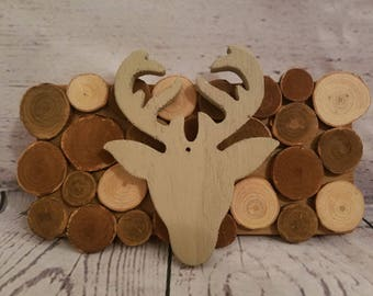 Rustic wood slice and deer