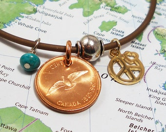 Canada, Vintage Coin Necklace --- Peace to All --- Travel - Canadian Penny - Copper Patina - UpCycled Jewelry - Peace Sign - Peace Dove