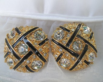 Gold and Black Rhinestone Clip On Earrings / Estate Jewelry / Mid Century Jewelry / Formal Attire / Vintage Accessory / Collectible Jewelry