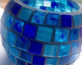 Stained Glass Mosaic Candle Holder, Votive with Geometric Pattern, Blue Home Decor, Housewarming Gift, Dorm Room, Candles, Shades of Blue