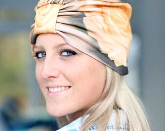 Turban Hat - Women's Organic Cotton Headwrap - Ivory Roses Floral Print Hair Wrap - Wearable Art