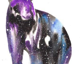 Black Bear ORIGINAL Watercolor 9X12, Galaxy Spirit Animal