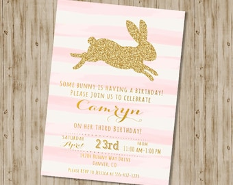 Bunny Birthday Invitation / Easter Birthday Invitation / Gold Glitter Birthday Invitation / 1st, 2nd, 3rd Girl's Birthday Invitation, Pink