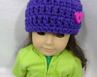 18 Inch Doll Hat, Dark Purple Crochet Beanie with Heart Button for American Girl, Winter Cap for Doll, Gift for Girl, Birthday Party Favor