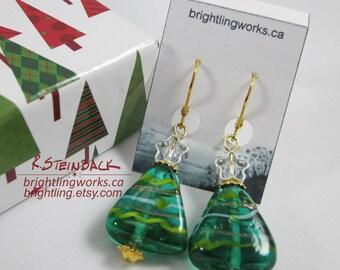 Starlit Evergreens; Delicate Festive Earrings