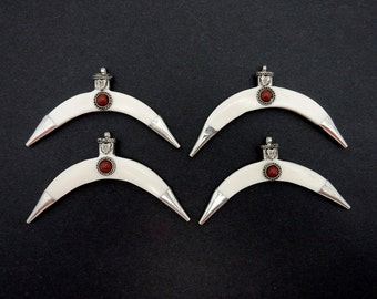 White Bone Crescent Double Horn Pendant with Gemstone accent Silver Toned Brass Caps (S85B10-03)