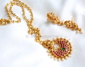Temple Necklace, Indian Necklace, Lakshmi Necklace, Indian wedding, Bollywood, Polki Necklace, Indian Bridal Jewelry
