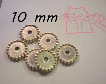 SET of 6 small round beads 10 mm silver metal wheel