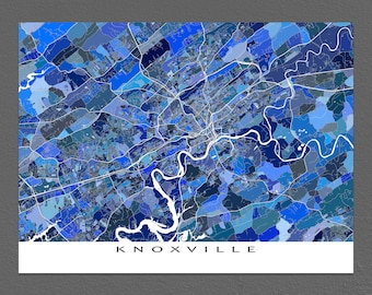 Knoxville Map Print, Knoxville Tennessee, Map Art Prints