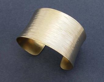 Hammered Gold Cuff Bracelet: Solid Brass Cuff Bracelet Willow Bark Textured Metal Artisan Handmade Jewelry Modern Bohemian Jewelry