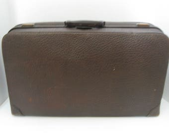 Vintage Brown Leather Suitcase Luggage Travel Storage