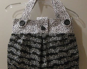 Music Note Handbag/Purse/Tote in Black & White