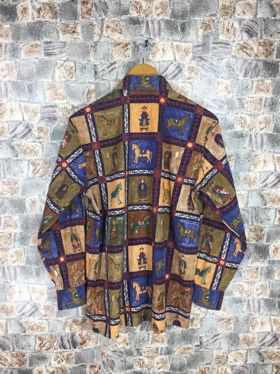 Silk Casual Baroque M Abstract Medium Silk Size Vintage 90s JAPANESE Shirt Novelty Tokyo Shirt Oxfords Art Classic Royalty Rayon Pop ATqw1ExS