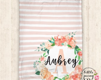 Personalized Baby Blanket - Monogram Blanket - Personalized Blanket - Floral Baby Blanket - Personalized Gifts - Baby Shower Gift
