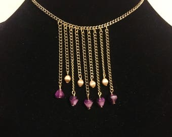 Lavender and Gold Fringe Necklace