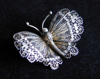 Vintage Cannetille 800 Silver Filigree Butterfly Brooch - Very Fine Wire Work - Flying Insect Pin - Great Aged Patina - Handmade Pin
