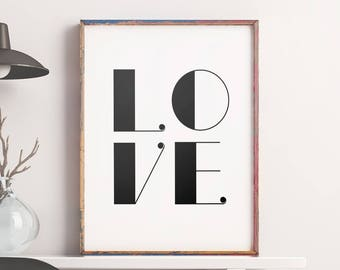 Home Decor 'LOVE' Wall Decor Printable Art Typography Love Print Inspirational Poster Motivational Love Quote Wall Art Digital Download