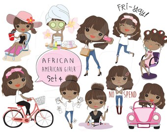 African American girl Clip art Black Girl clipart set 4 , instant download PNG file - 300 dpi