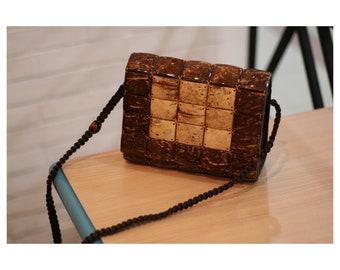 Handmade coconut shell crossbody bag