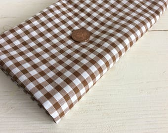 Brown and White Gingham Fabric Piece - 97 x 98 cm - Polyester Cotton Fabric - Plaid Fabric for Sewing - Craft Fabric - Brown Fabric