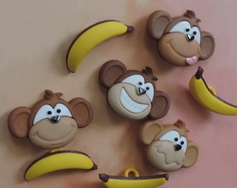 SET of 8 Shank Adorable Monkey and Bananas Sewing Buttons