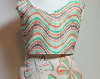 "Butterfly Kisses Reversible Skirt Set 18"" Dolls Peach Aqua Butterfly Lace Trim"