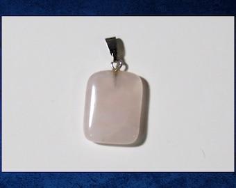 Quartz, Rose - Small 15x20mm flat rectangle pendant with natural gemstone. #GPEN-420