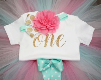 First Birthday Outfit, Birthday outfit, pink and aqua, pink and gold,