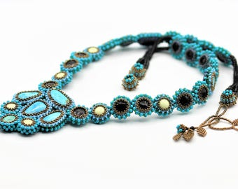 Turquoise Crush Beaded Statement Necklace with Natural Turquoise and Lemon Chrysoprase Cabochons, Rainbow Obsidian Beads and Seed Beads.