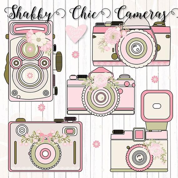Premium Camera flower Rustic cameras clipart shabby chic