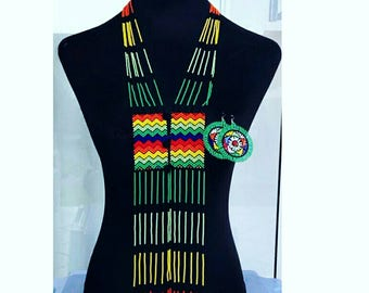 Zulu Scarf necklace abd matching earrings.