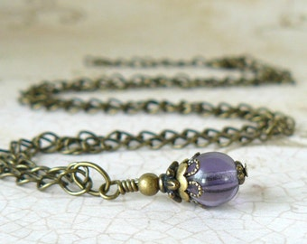 Lavender Necklace, Light Purple Pendant, Vintage Style Jewelry, Lilac Bridesmaid Necklace, Lavender Wedding Jewelry, Bridal Party Gift