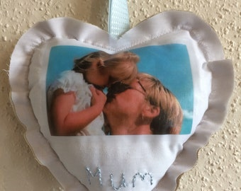 Photo Cushion Gift, Small, Mothers Day Valentine, Birthday, Wedding Anniversary, Cushioned Wall Hanging, Wall Art, Handmade To Order