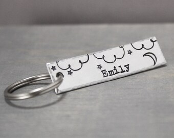 Star Key Chain, Name Key Chain, Moon Key Chain, Personalized Gifts, Custom Key Chain, Personalized Key Chain, Name Gift, Stamped Key Ring