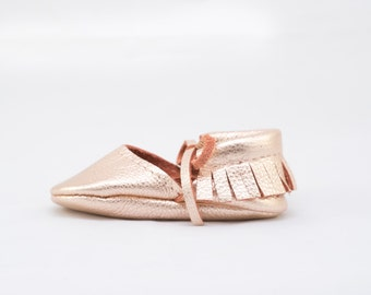 ROSE GOLD || mary jane moccasin