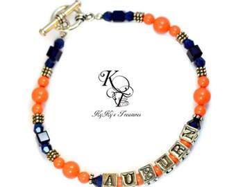 Auburn Bracelet, Auburn Jewelry, Auburn Gifts, Auburn Football, Sports Jewelry, Sports Gifts, Football Jewelry, Football Gifts, College Gift