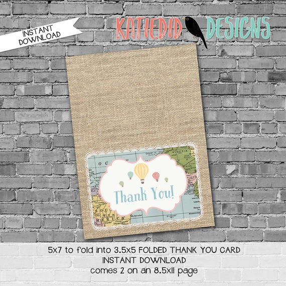 world map baby shower oh the places you'll go travel themed burlap Hot air balloon adventure awaits THANK YOU CARD 1455 katiedid designs