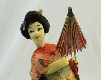 Vintage Japanese Geisha Girl with Parasol