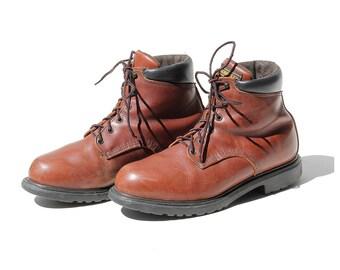 Vintage Men's Brick Brown Leather Ankle Boots / size 11.5