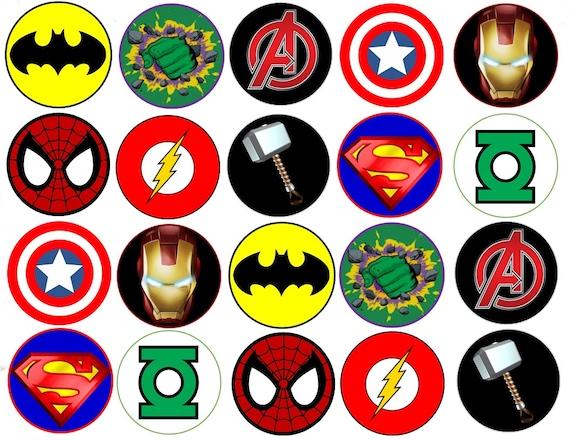 Super heros symbols edible images cupcake cookie toppers - Symbole de superman ...