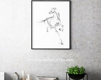 H03, Horse sketch, Wall decor Black and white minimalist, Abstract art print from original pencil drawing horse art by Ann Adams CC