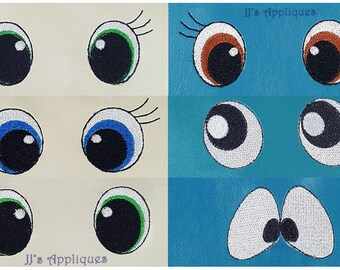 Eyes Embroidery Designs - Lot of 6 Eye Styles for 4x4 hoop 1 inch, 1-1/2 inch, 2 inch designs, 42 designs Digital Files - Instant Download