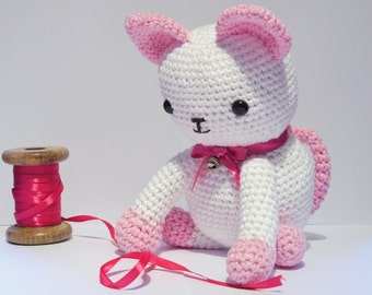 Large Pink Amigurumi Crochet Cat / Kitten.  Hand made with cotton yarn. Perfect Christmas gift. White cat.